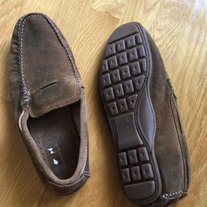 Brown suede loafers. Never worn size 10.5